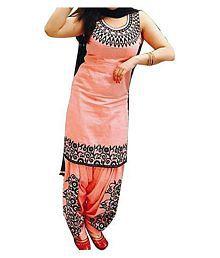 Dwarkesh Fashion Orange Cotton Dress Material