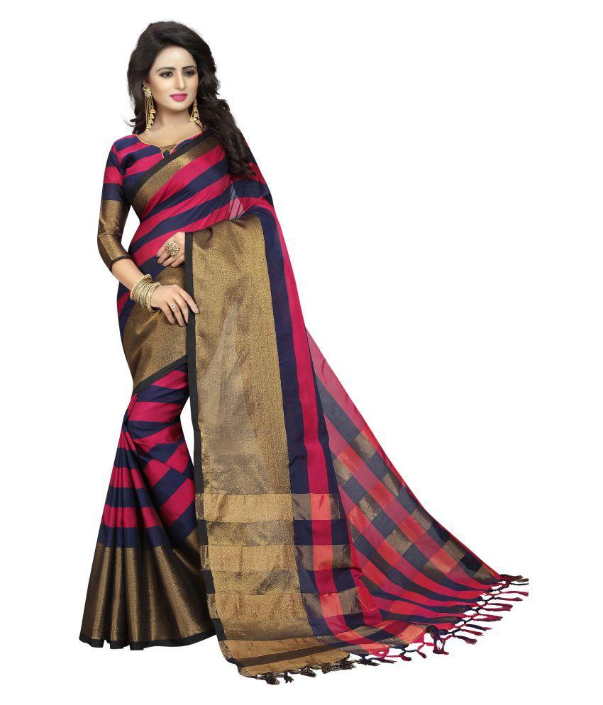 Zypara Black and Beige Cotton Silk Saree
