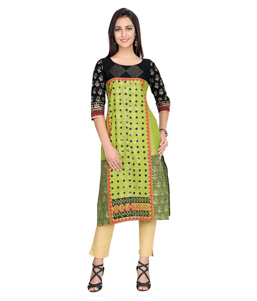 Varsha Fashion Green Cotton Straight Kurti