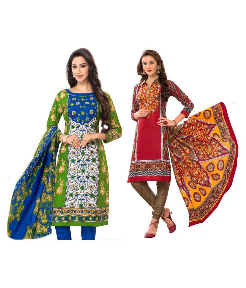 HRINKAR Multicoloured Cotton Dress Material