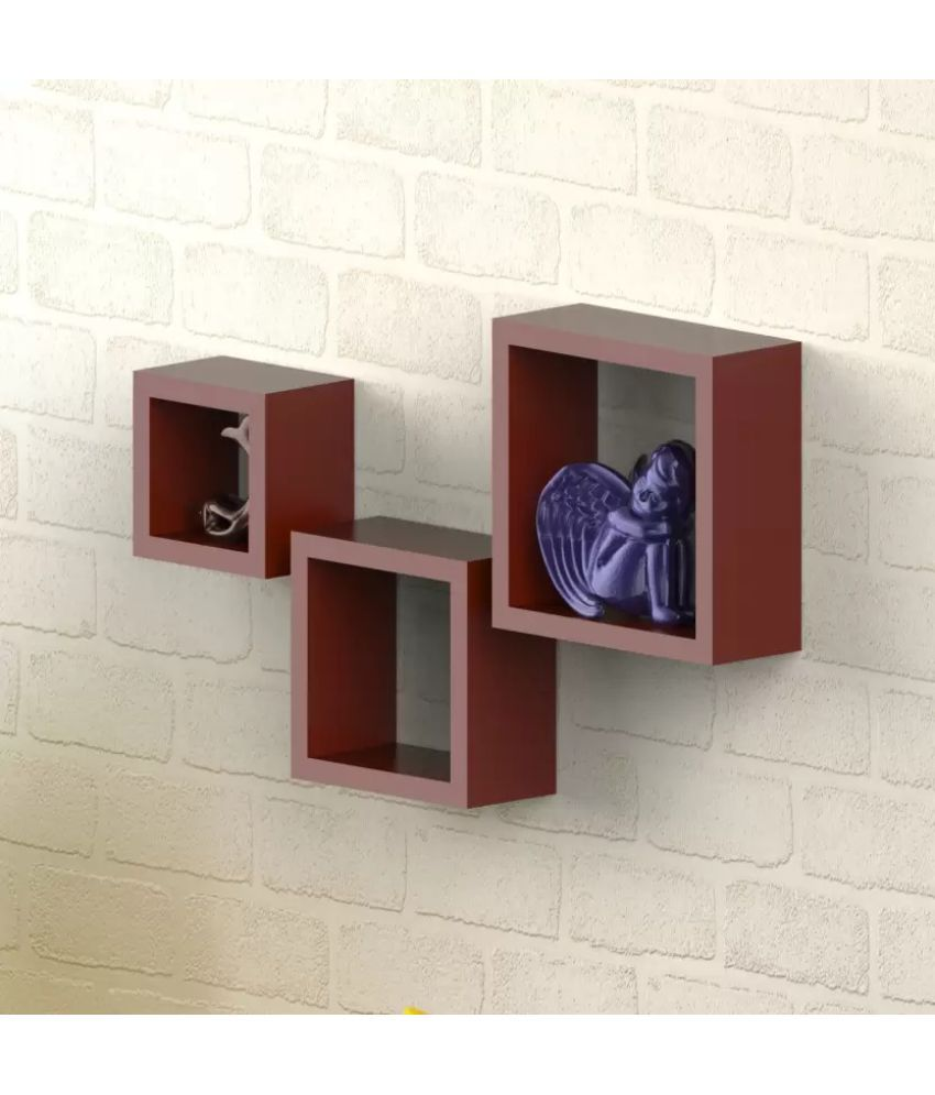 Onlineshoppee Floating Shelf/ Wall Shelf / Storage Shelf/ Decoration Shelf Brown - Pack of 3