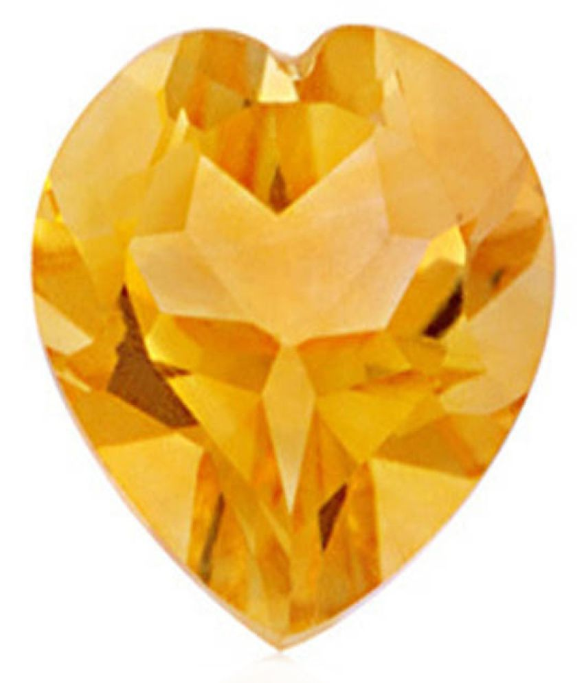 Tejvij And Sons 3.25 -Ratti Self certified Yellow Citrine Semi-precious Gemstone