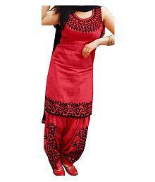SAIYAARA FASHION Red Cotton Silk Dress Material