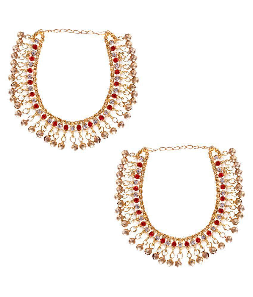 Jewels Gold Alloy Party Wear & Wedding Latest Designer Beautiful Anklet Set For Women & Girls (Adjustable)