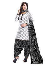 Baalar White Cotton Dress Material
