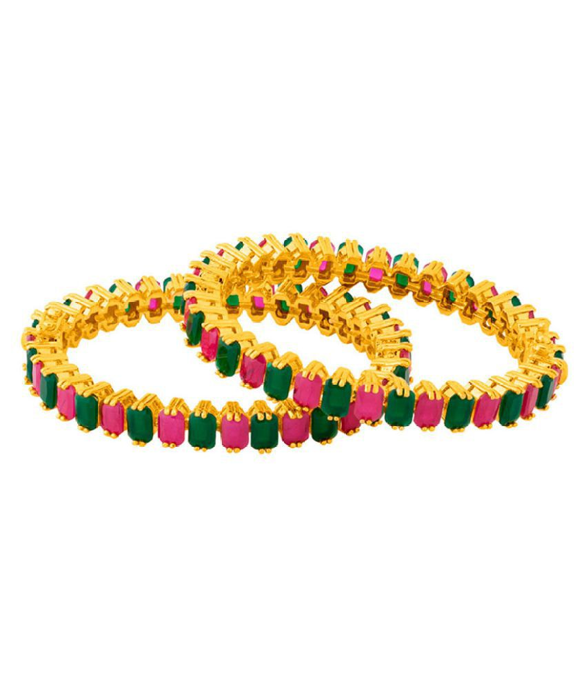 Gold Plated Bangles with Coloured CZ Gems