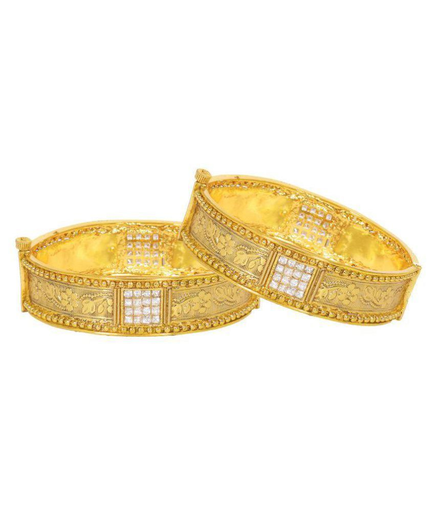 Penny Jewels Traditional Antique Fancy Golden Attractive Latest Simple Bangles Set For Women & Girls