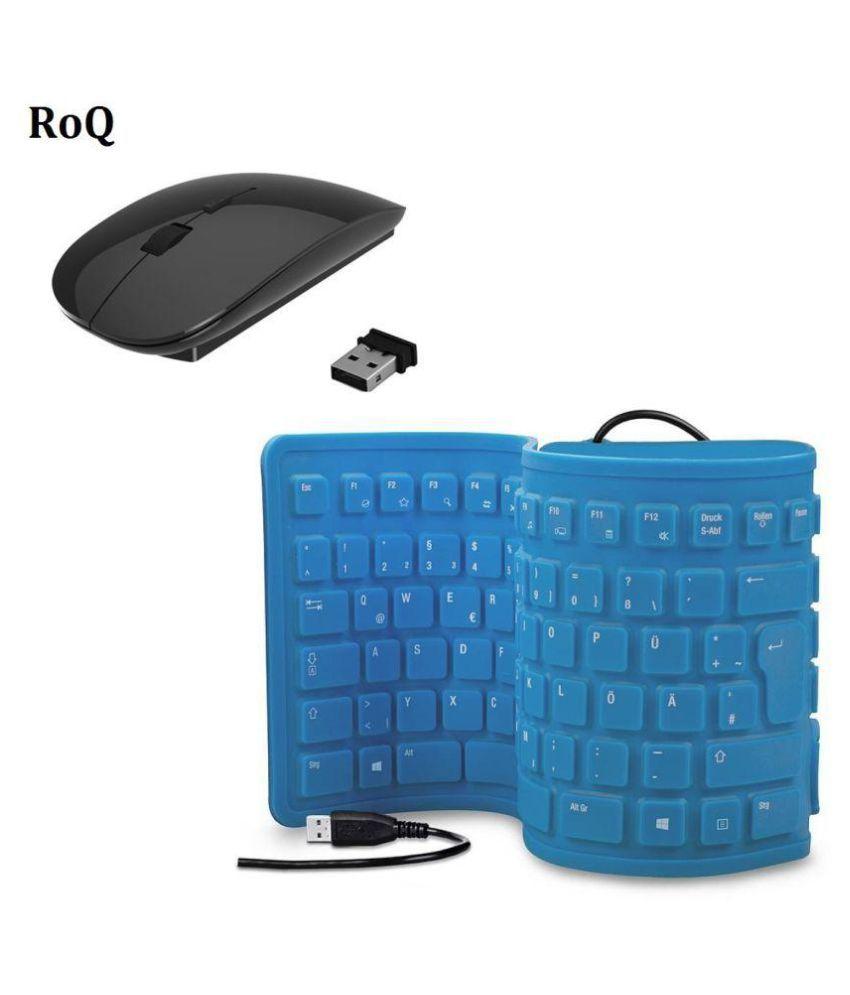 Roq Wireless keyboard Mouse Combo, 103 Keys foldable USB Wired ...