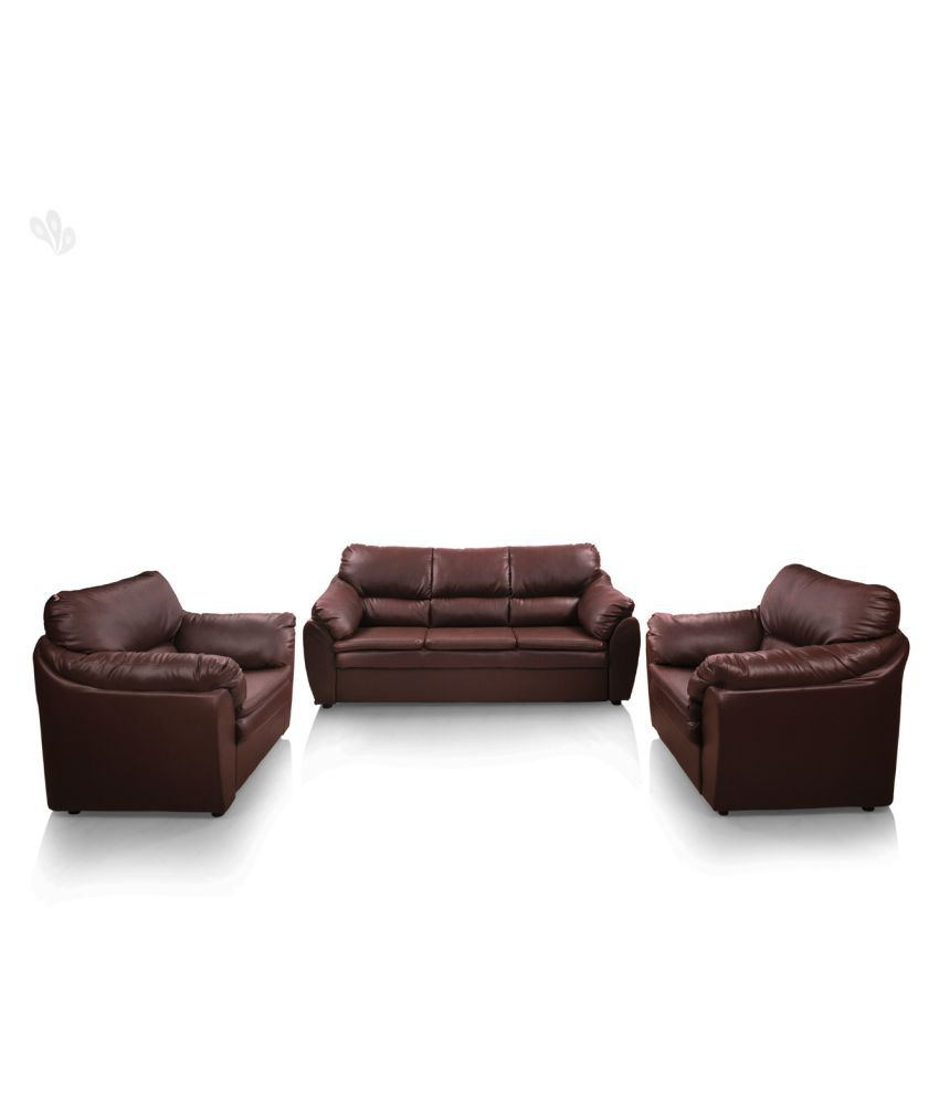 comfort couch lily sofa set premium leatherite red brown buy rh snapdeal com