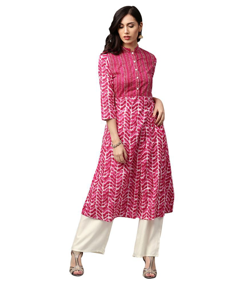 Jaipur Kurti Pink Cotton Straight Stitched Suit