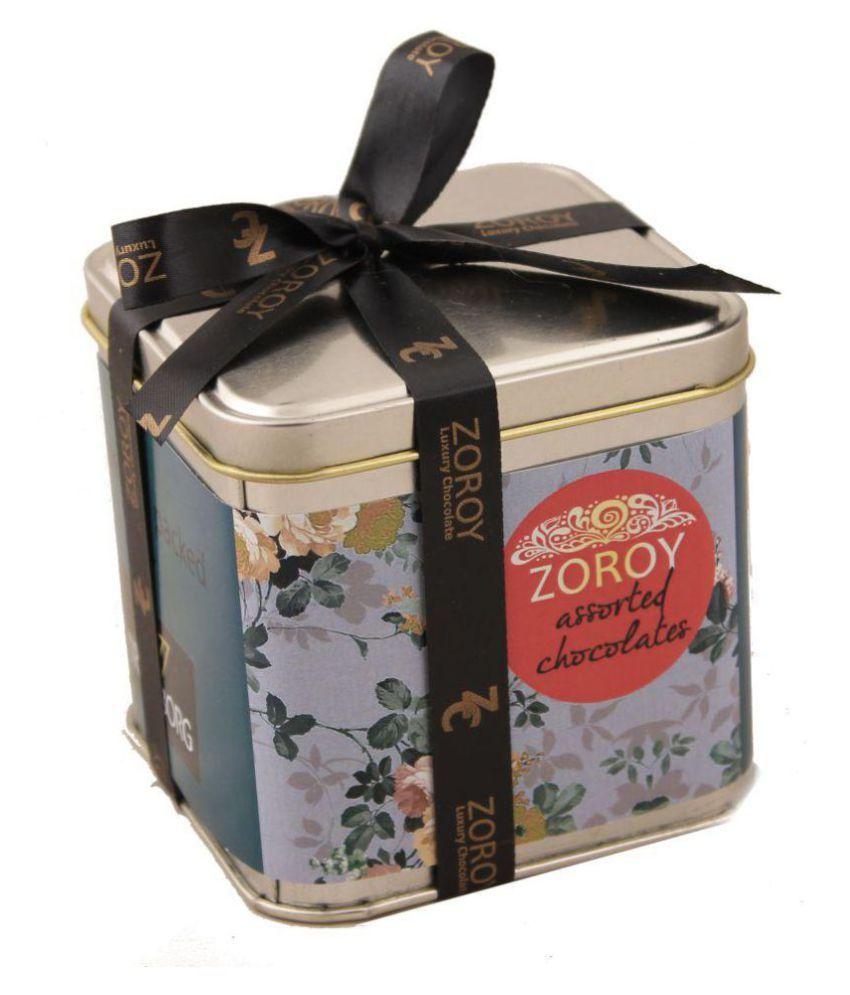 Zoroy Luxury Chocolate Assorted Box Diwali Square Tin with Chocolates 124 gm