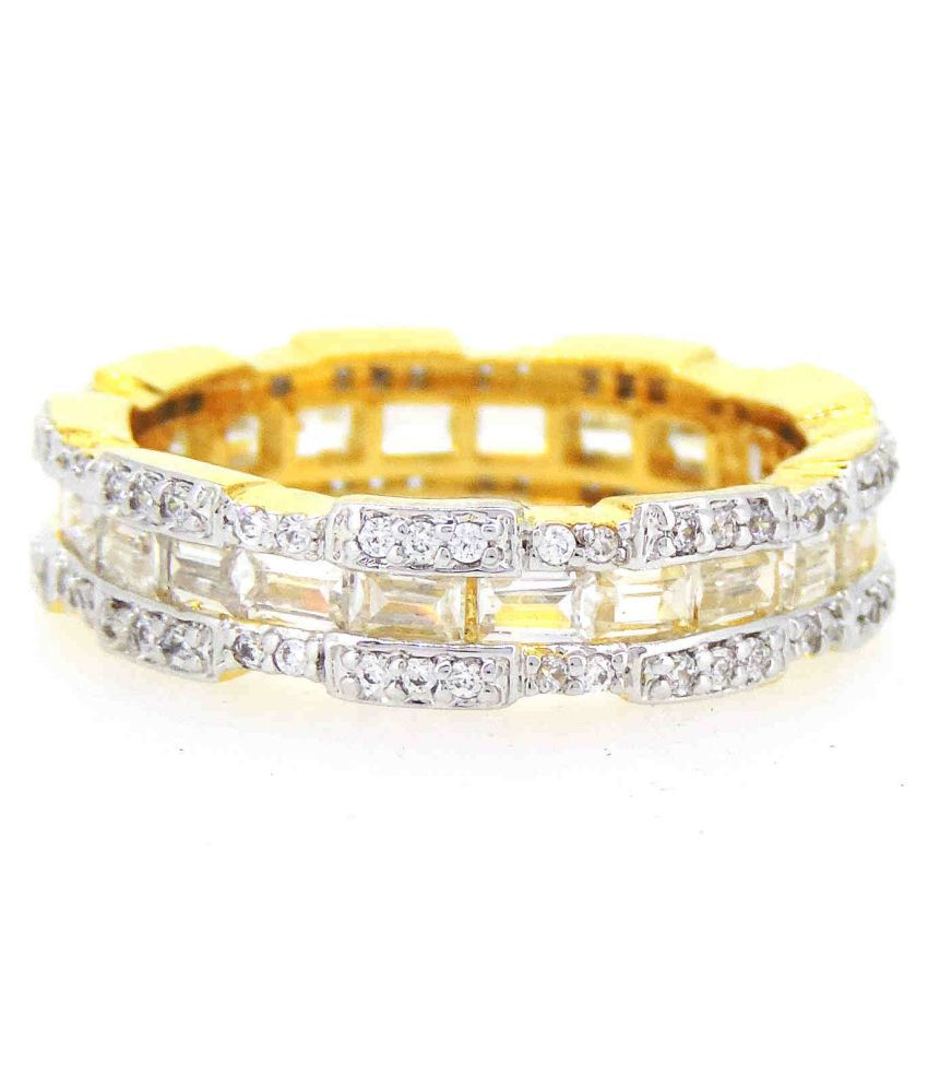 Classic American Dimonds Colored Stones Band Finger Ring For Girls / Women (RI-0158)