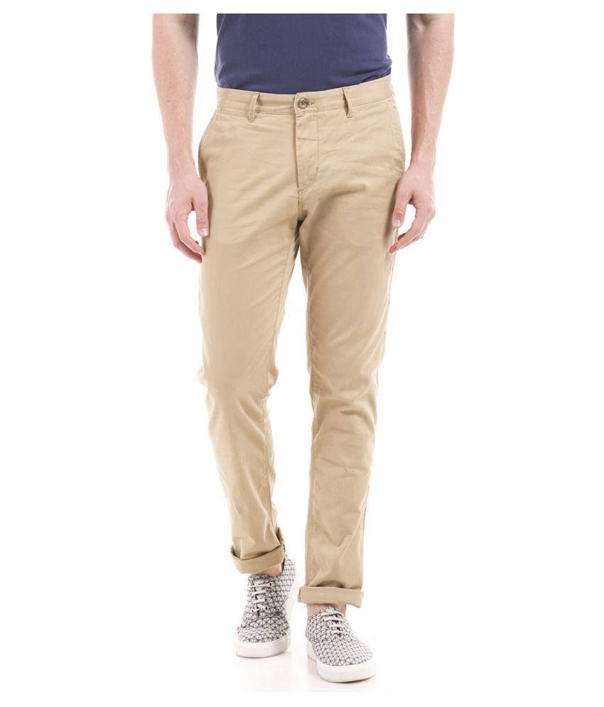 U.S. Polo Assn. Beige Slim -Fit Flat Chinos