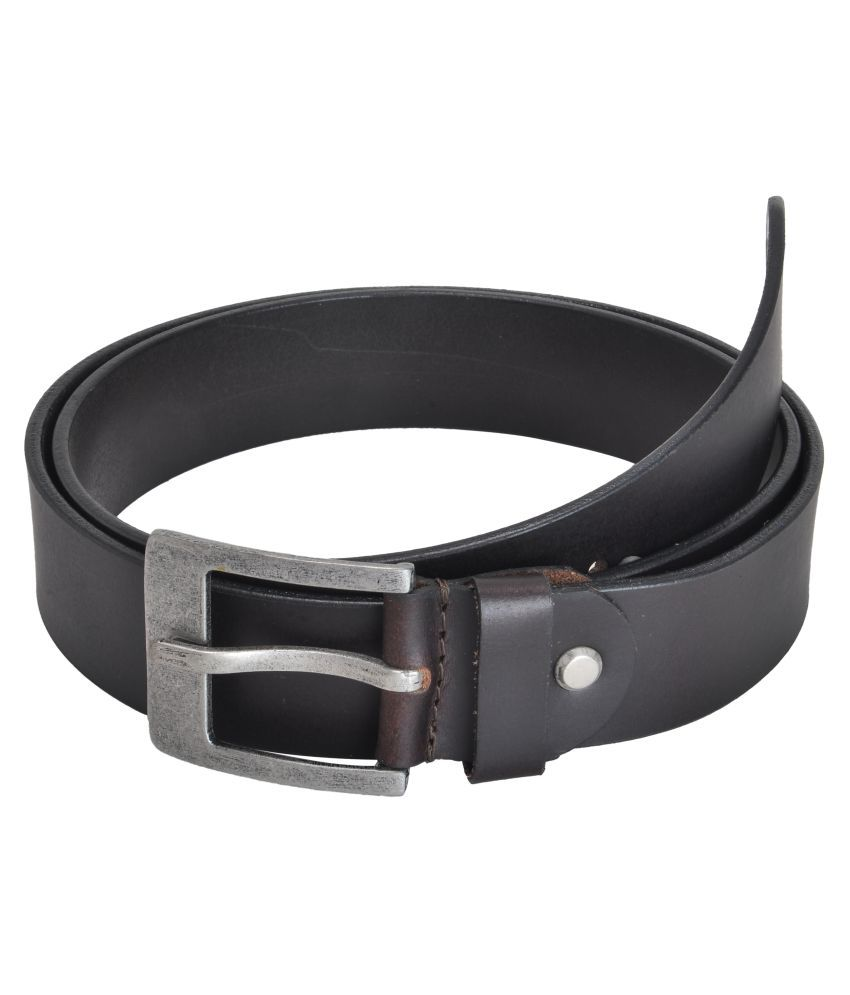 Picco Massimo Black Leather Casual Belts