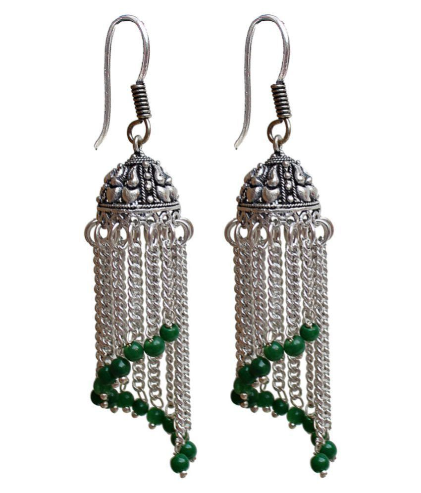 Lucky Jewellery Black Metal Oxidized Enticing Jhumki Earrings In Oxidised Silver Plating For Women