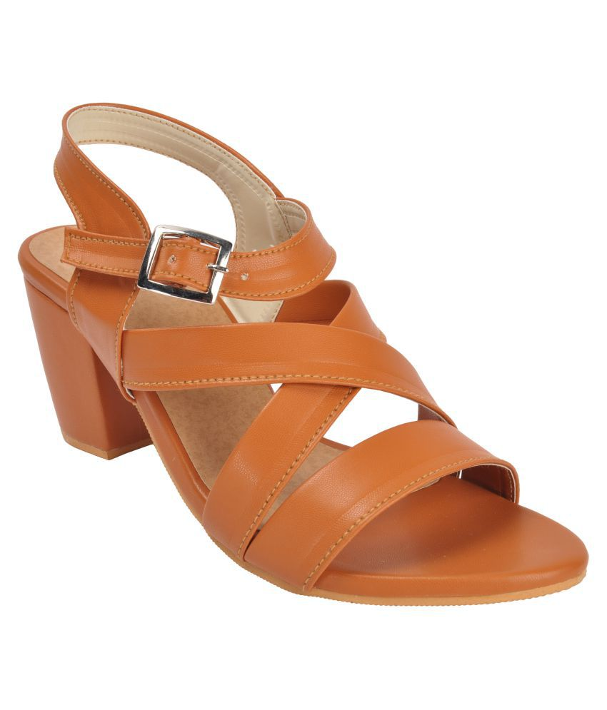 With the Fashion Tan Platforms Heels
