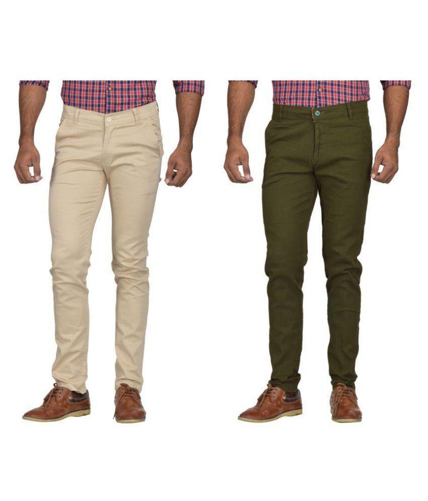 Kushsection Dark Green Slim -Fit Flat Chinos