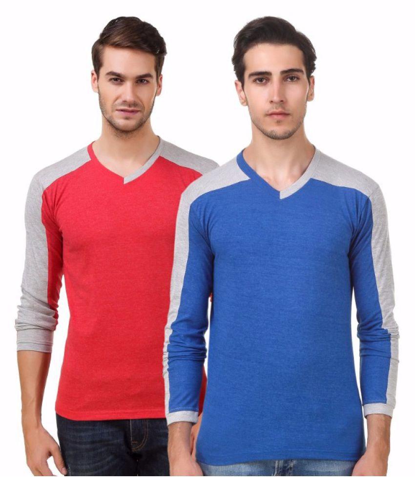 Sen Voler Red V-Neck T-Shirt