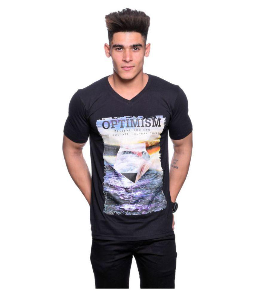 Illusion Black V-Neck T-Shirt
