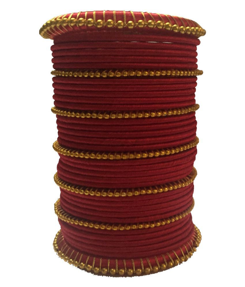 Handcrafted Beautiful Silk Dori Plastic Bangle Set