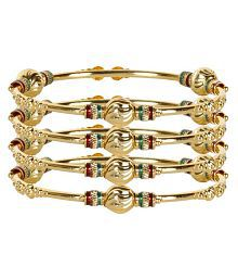 Jewels Gehna Antique Latest Gold Plated Funky Stylish Non-Precious Latest Bangles Set For Women & Girls