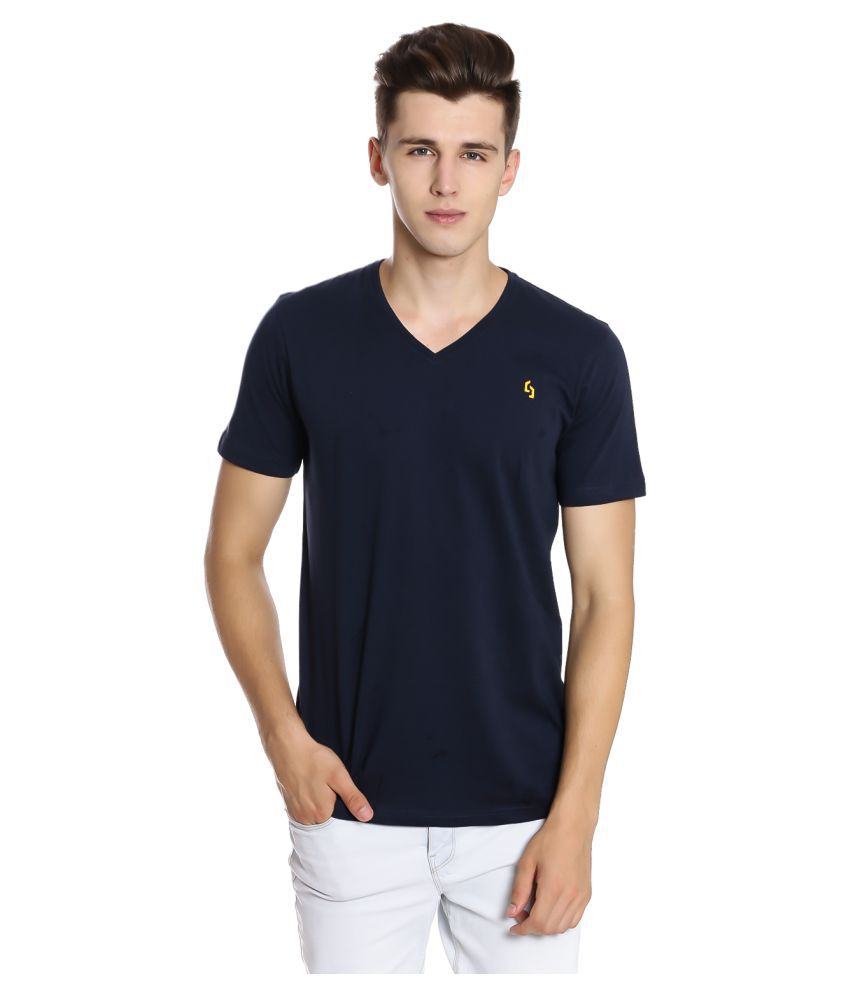 NUCODE Navy V-Neck T-Shirt