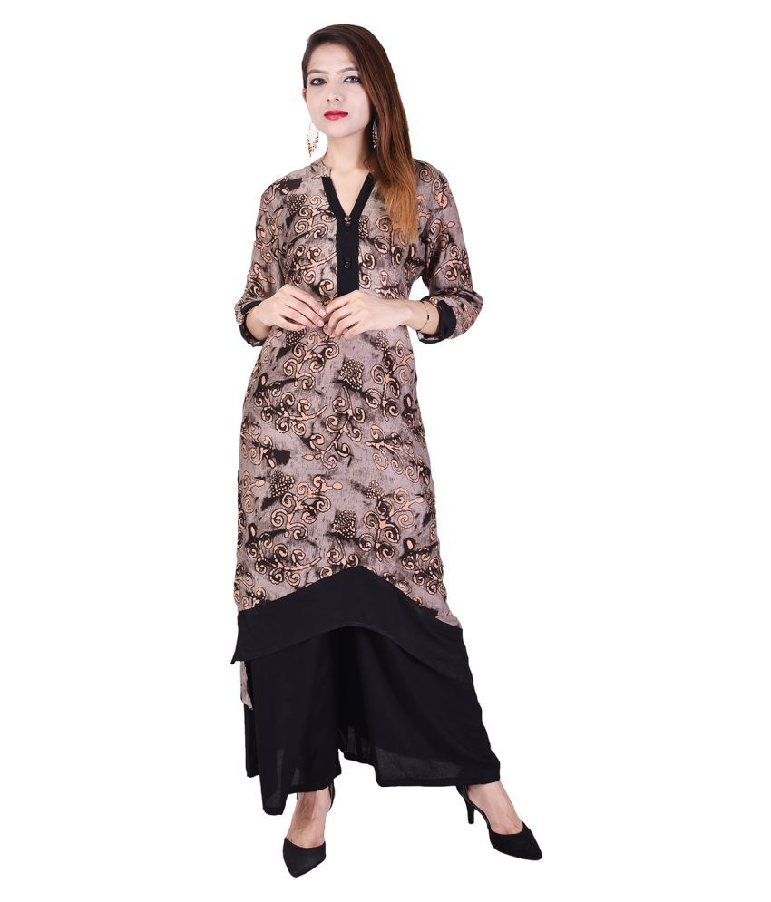 RANGABATI Brown Rayon Asymmetrical Hemline Stitched Suit