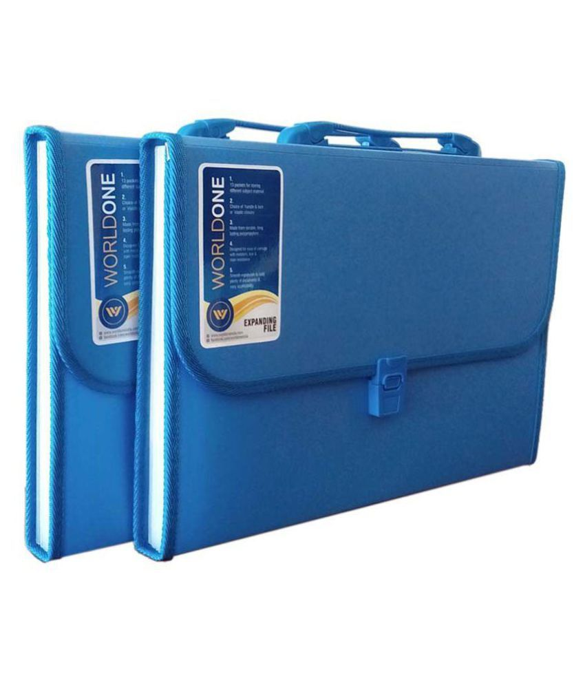 Worldone Blue Expanding File 13 Pockets Set of 2