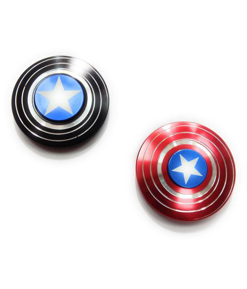 kausal kf Captain America Metal Hand Spinner Fidget Stress Reducer Anti Anxiety for Children / Adults - (Multicolor) COMBO OF -2 (Red, Black) - Buy kausal ...