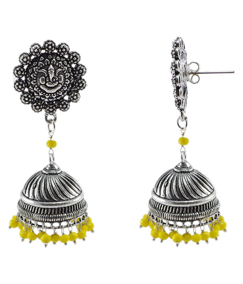 3mm Yellow Crystal Beads And Ganesha Jhumka Earrings-Large Vintage Tribal Jewellery-Silvesto India PG-107234