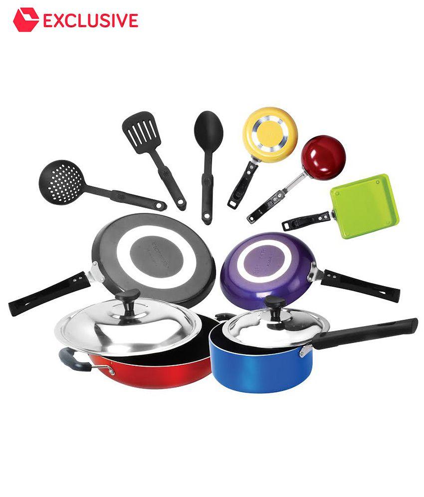 Crystal Multi Colored Non Stick Cookware Set 12 Pcs Heavy