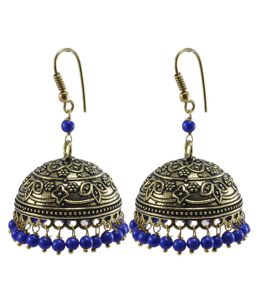 Handmade Oxidized Jhumki With Reconstituted Lapis Beads Earrings-Jaipuri Night Glow Jewelry Silvesto India PG-107024