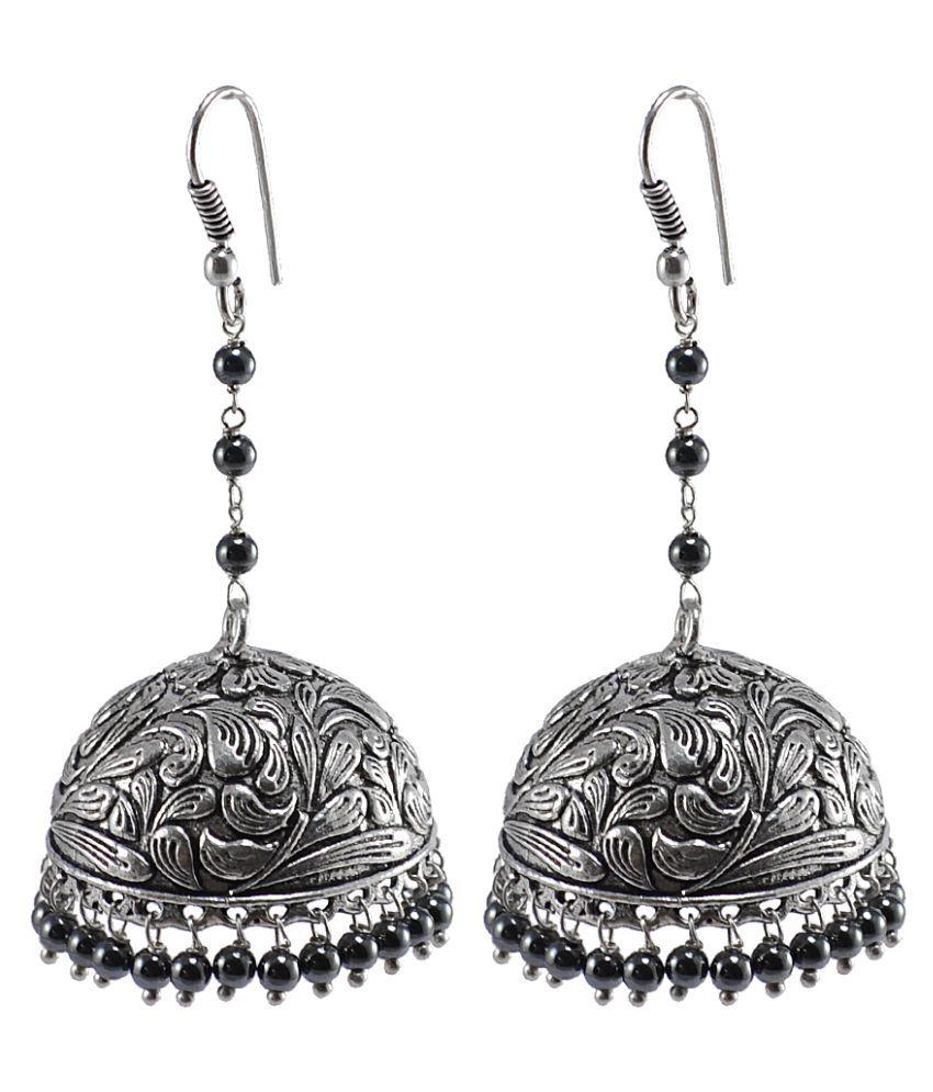 Jaipuri Jhumka-Oxidized Jhumkai- Dome Shaped Hematite Dangle Chandelier Earring-Silvesto India PG-106892