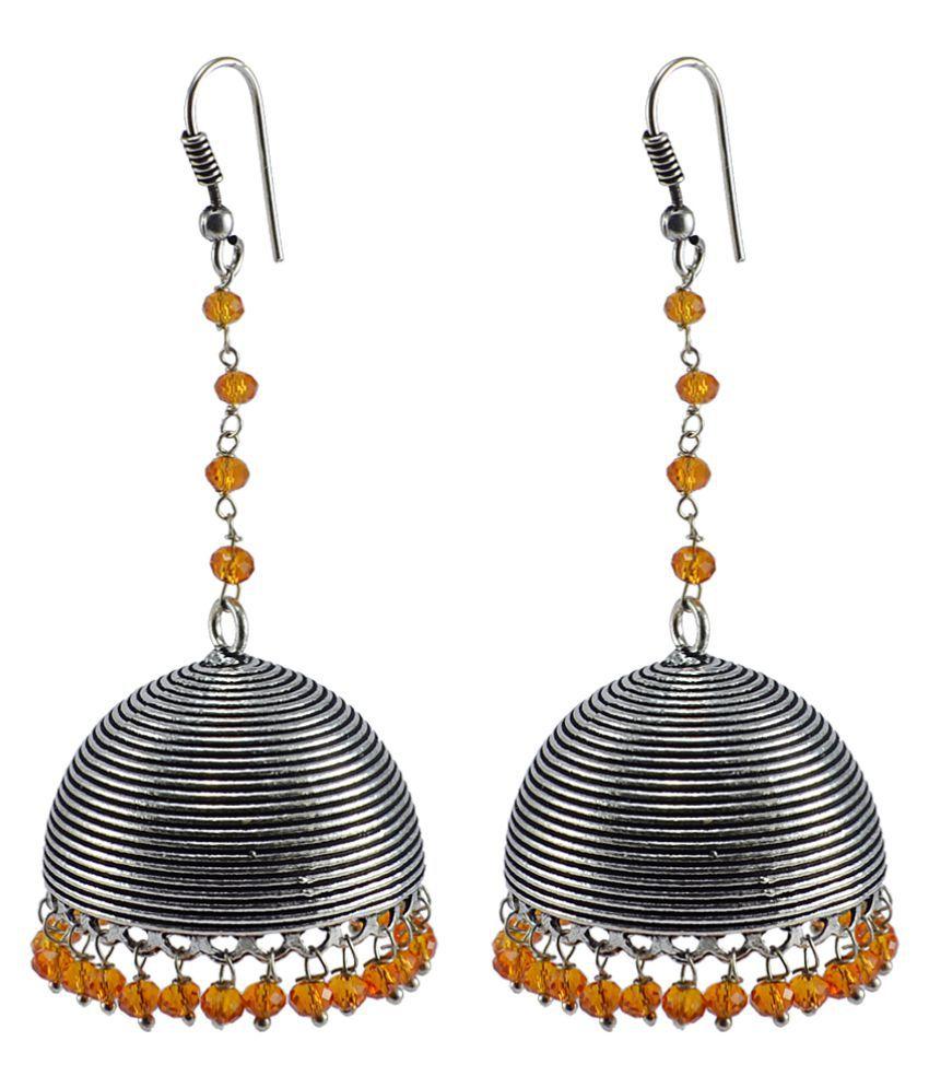 Orange Crystal Beaded Indian Jhumka-Handmade Hook Earrings-Jaipur Jewellery Silvesto India  PG-106256