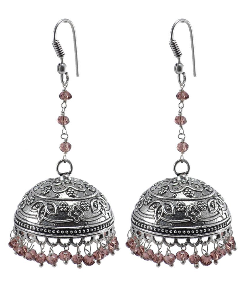 Silvesto India Explicit Handmade Traditional Jewelry 22.7 Grams Amethyst Crystal Alloy Oxidized Long Jhumka Earrings PG-106662