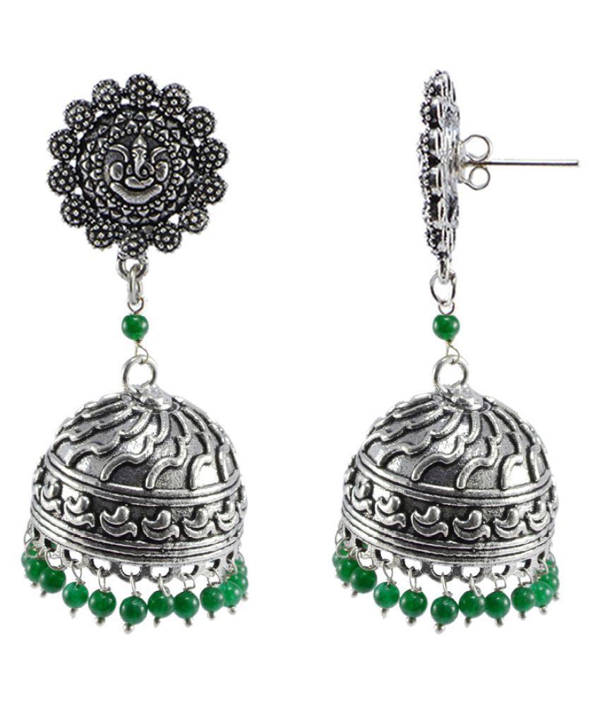 Silvesto India Oxidized Handmade Green 3 mm Ganesha Jhumki Earrings-Jaipuri Jewellry PG-107604