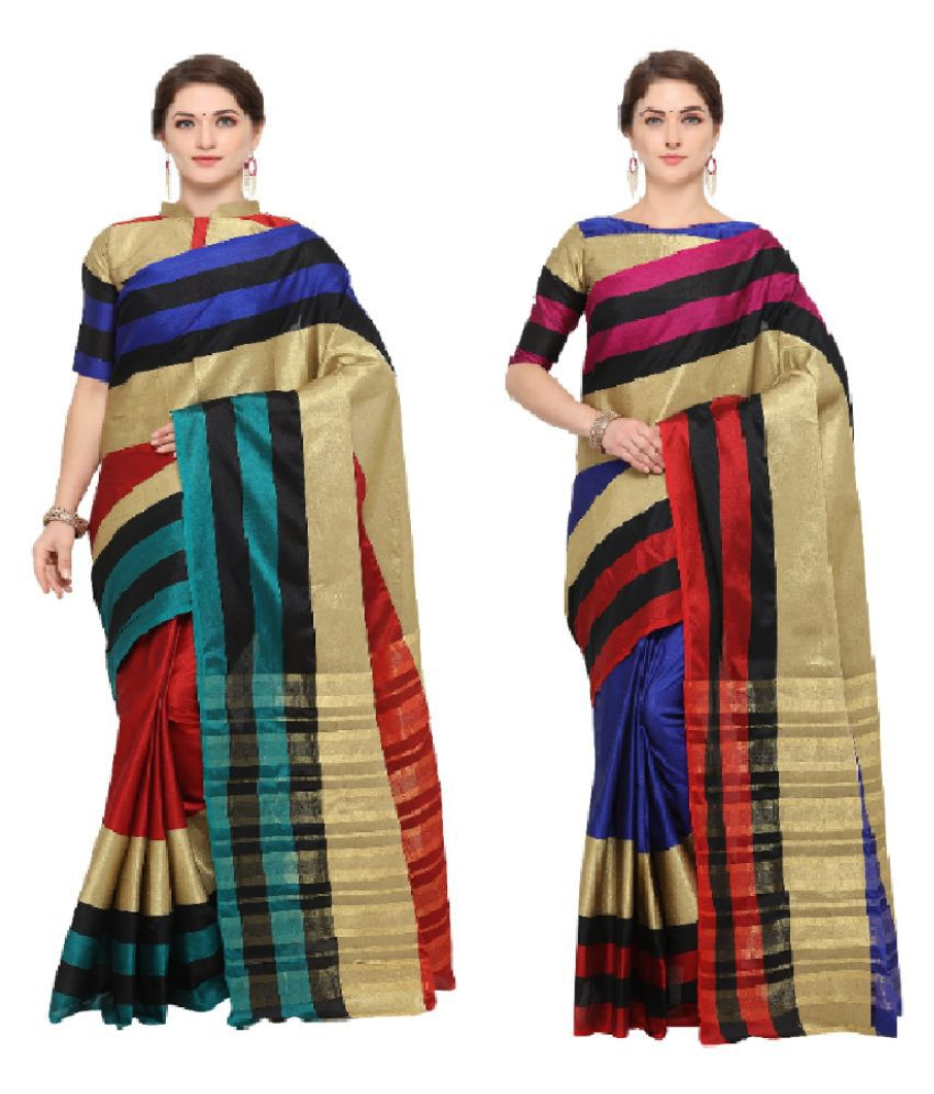 veronika closet Multicoloured Cotton Silk Saree Combos