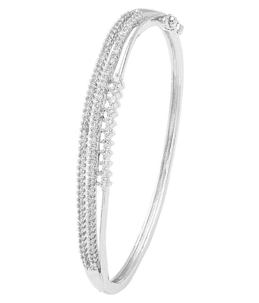 Silver Plated Designer CZ Studded Cuff Bracelet For Women