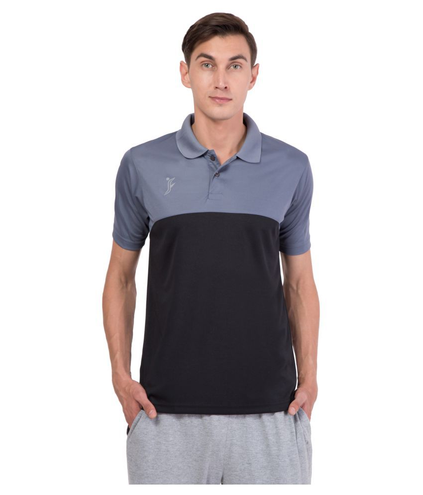 FINO Black Regular Fit Polo T Shirt