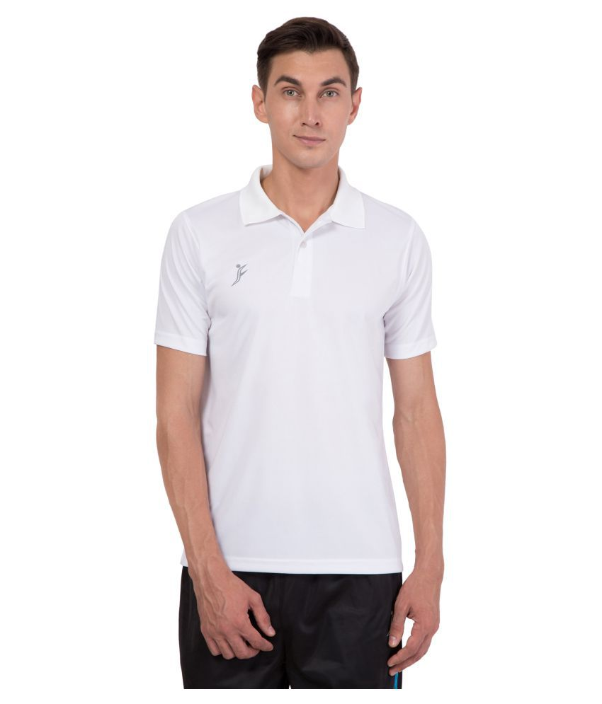 FINO White Regular Fit Polo T Shirt