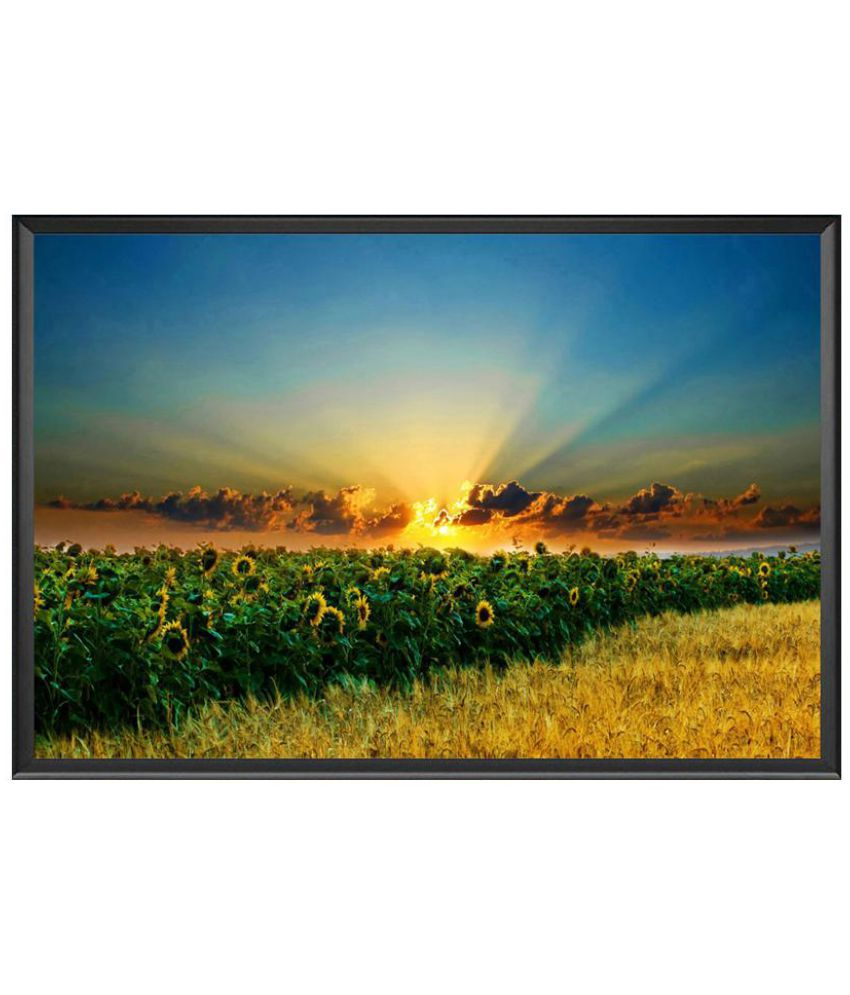 VenTechno Sunrise Wood Wall Poster With Frame