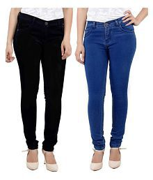 Kacey Skinny Women's Black & Blue Denim High Rise Stretchable Regular Fit Casual Jeans For Women