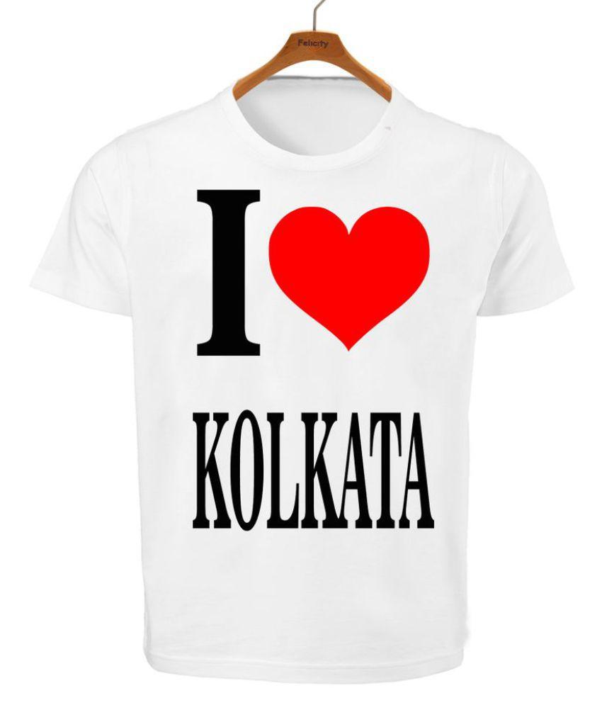 RITZEES White Dry Fit Polyester Tshirt on I love Kolkata