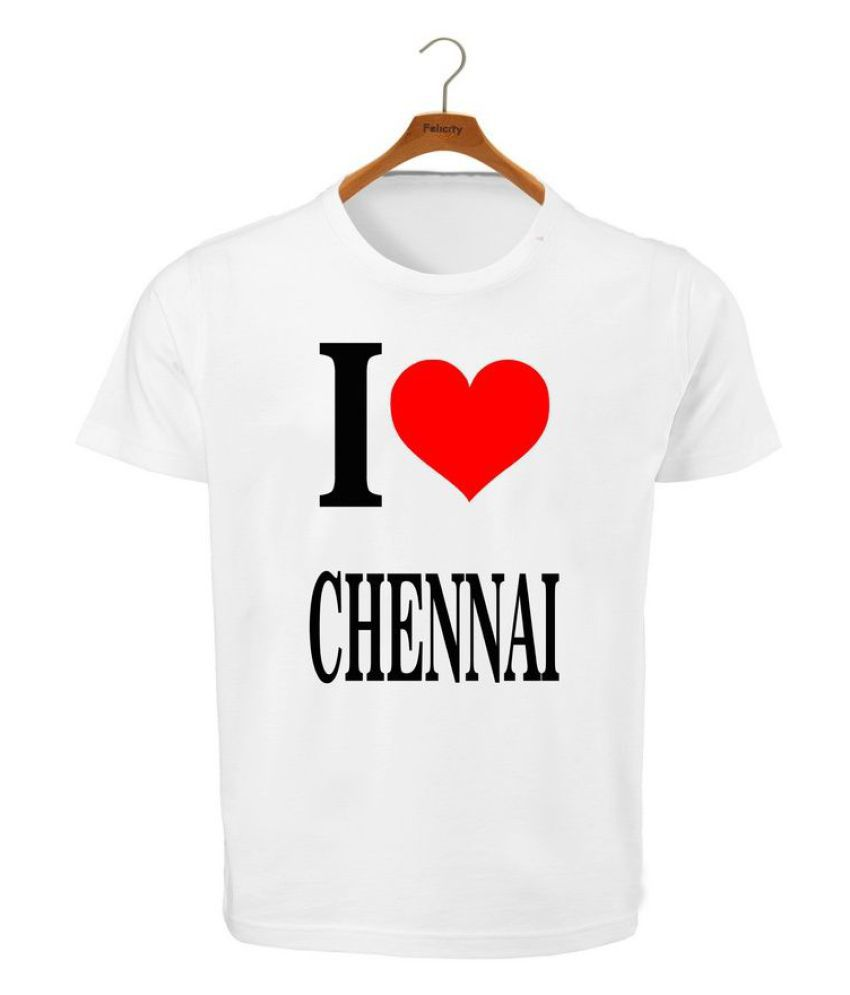 RITZEES White Dry Fit Polyester T-Shirt On I Love Chennai