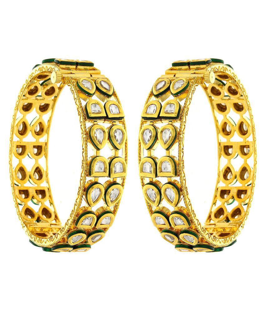Anuradha Art Golden Colour Styled with Studded Stone Traditional Bangles Set for Women//Girls