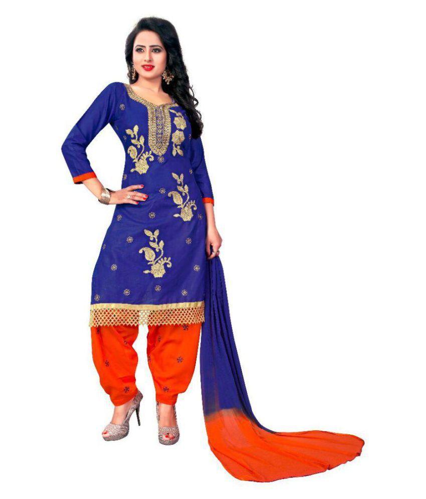 Aarav Enterprises Blue and Orange Cotton Dress Material