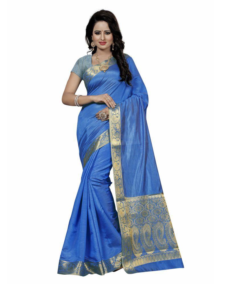 Karissa Turquoise Cotton Silk Saree