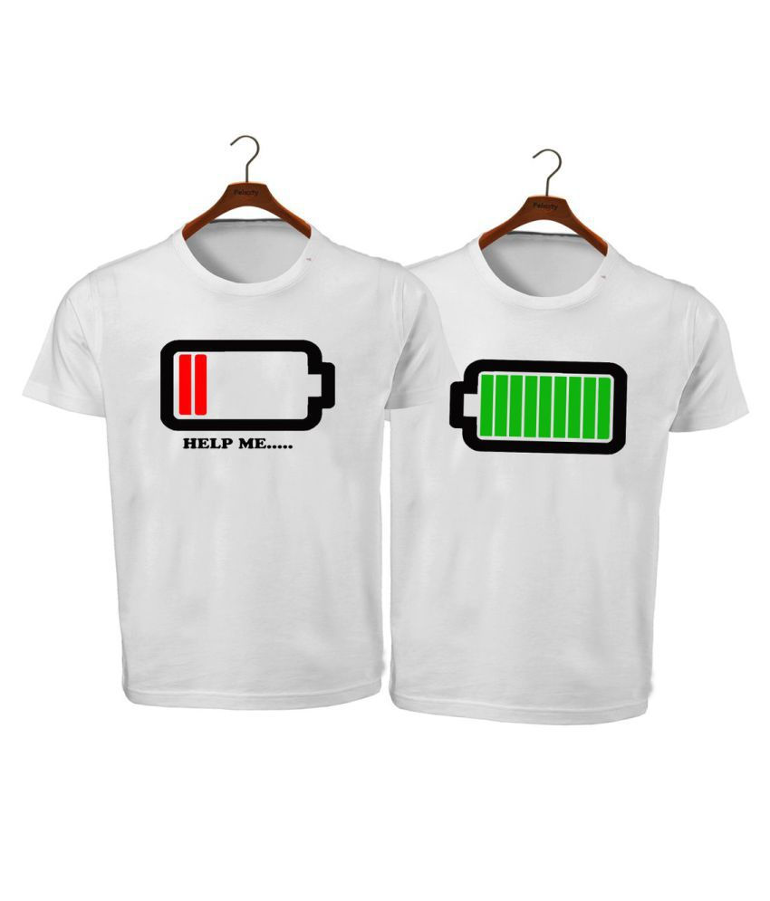 RITZEES White Dry Fit Polyester Combo T-Shirt On Battery Low High