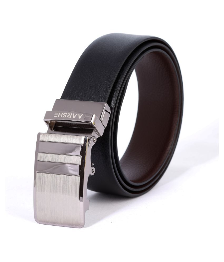 AARSHE Black Leather Formal Belts