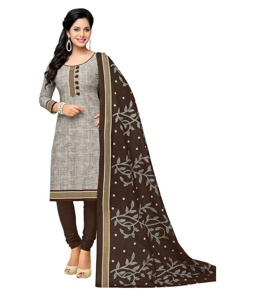 Salwar Studio Grey Cotton Dress Material